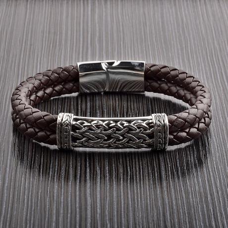 Antiqued Braided ID Leather Bracelet // Brown