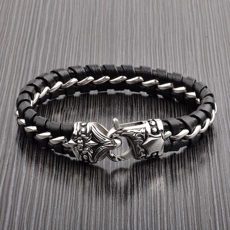 Antiqued Leather + Curb Chain Bracelet // Black + Silver