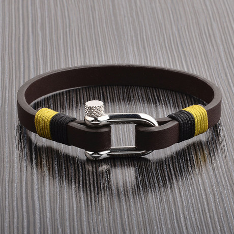 Leather Bracelet + Screw Clasp // Brown + Silver