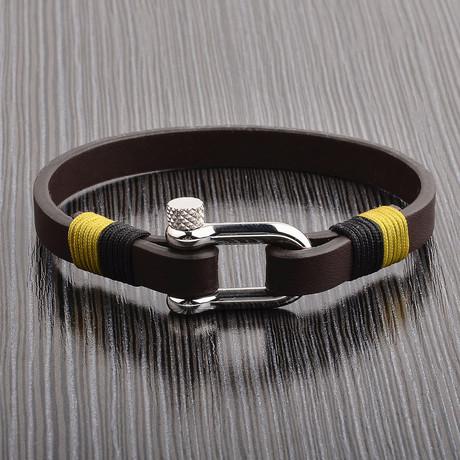 Leather Bracelet + Screw Clasp // Brown + Silver