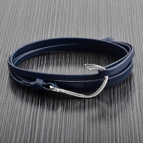 Leather Hook Wrap Bracelet // Blue + Silver