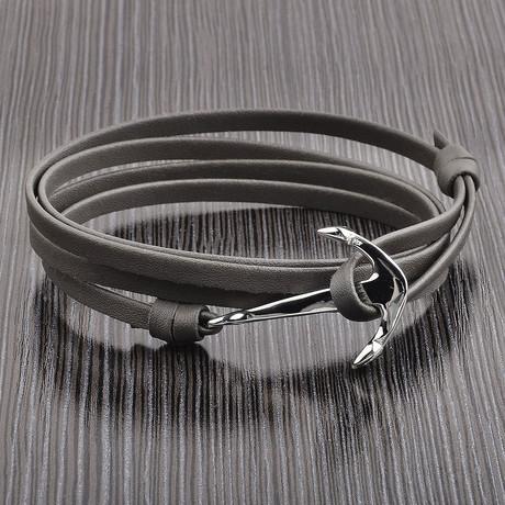 Leather Anchor Wrap Bracelet // Gray + Silver