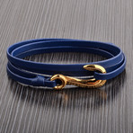 Leather Hook Wrap Bracelet // Blue + Gold
