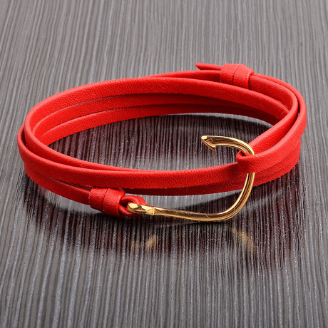Leather Hook Wrap Bracelet // Red + Gold