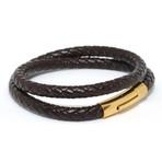 Woven Leather Double Wrap Bracelet // Brown
