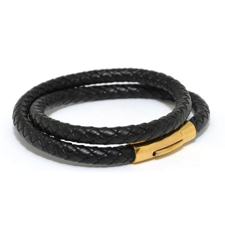 Woven Leather Double Wrap Bracelet // Black