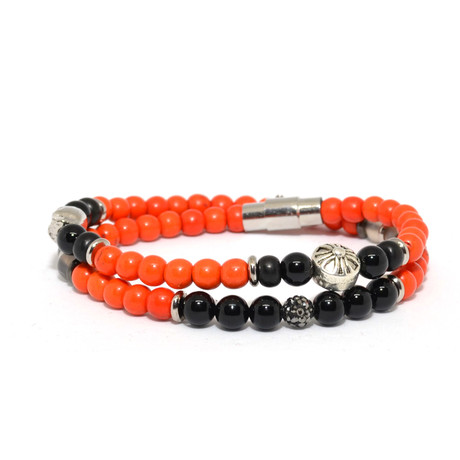 Skull Beaded Wrap Bracelet // Orange + Black