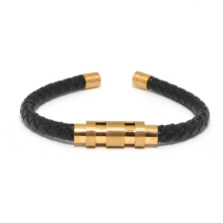 Leather Cuff // Black + Gold