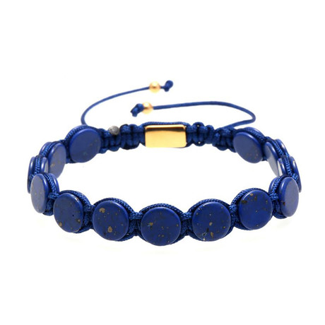 Round Lapis Lazuli Pull Closure Beaded Bracelet // Blue + Gold