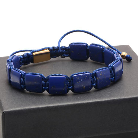 Square Lapis Lazuli Pull Closure // Blue + Gold