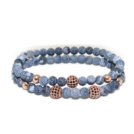 Weathered Blue Agate + Cubic Zirconia // 2 Pack