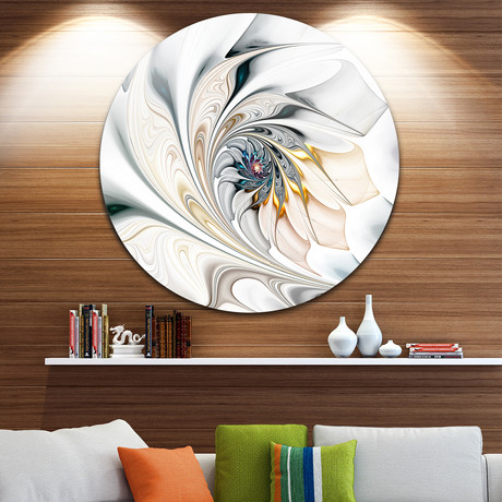White Stained Glass Floral Art