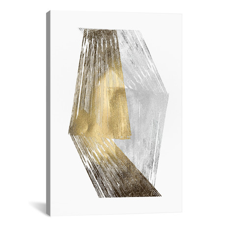 "Gold & Silver Foil Stripes // Jennifer Goldberger (12""W x 18""H x 0.75""D)"