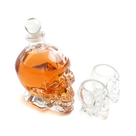 Skull Decanter + Two Shot Glasses