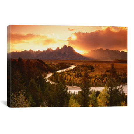 "Sunset Over Teton Range With Snake River In The Foreground // Adam Jones (26""W x 18""H x 0.75""D)"