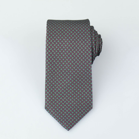 Brioni // Birch Silk Tie // Brown + Maroon + Teal