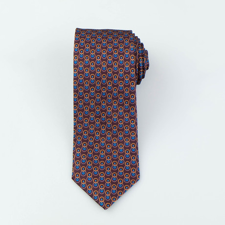 Brioni // Kent Silk Tie // Brown + Blue