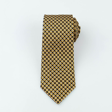 Brioni // Clive Silk Tie // Black + Yellow