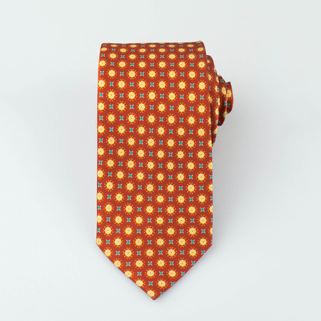 Brioni // Duke Silk Tie // Orange + Yellow + Green