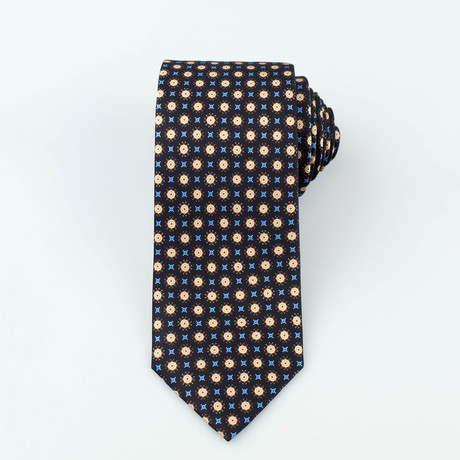 Brioni // Fraser Silk Tie // Black + Yellow + Blue