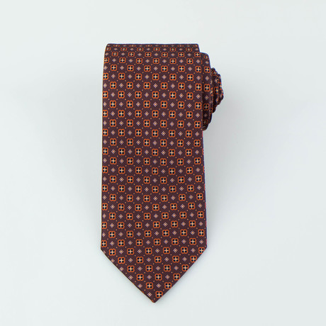 Brioni // Colton Silk Tie // Brown + Orange
