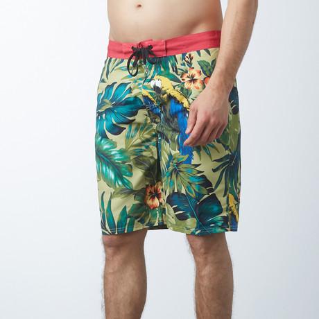 E-Boardshort With Back Zip Pocket // Yellow Multi