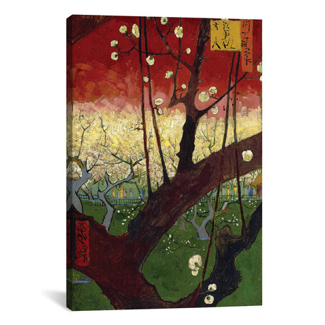 "Japonaiserie: Flowering Plum Orchard // After Hiroshige // Vincent van Gogh // 1887 (26""W x 18""H x 0.75""D)"
