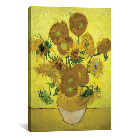 "Sunflowers // Repetition Of The Fourth Version // Vincent van Gogh // 1889 (26""W x 18""H x 0.75""D)"