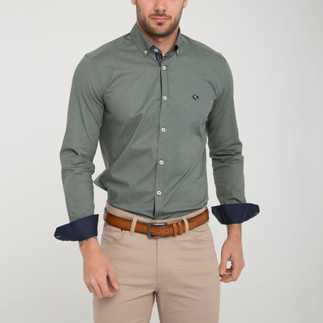 Lanark Button-Up // Green + White