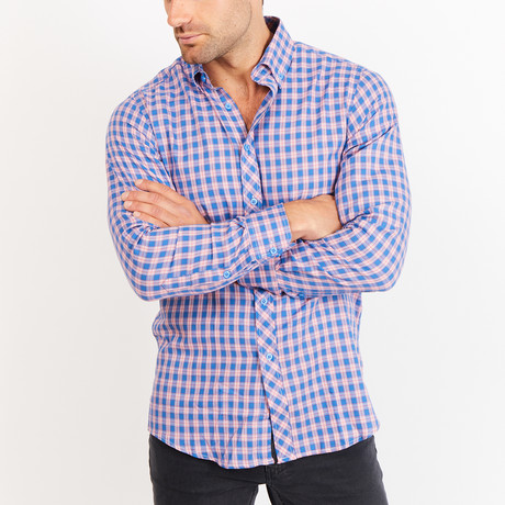 Button-Up Shirt // Checkered // Pink + Blue (S)