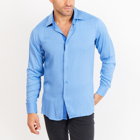 Button-Up Shirt // Blue Knit Fabric (S)