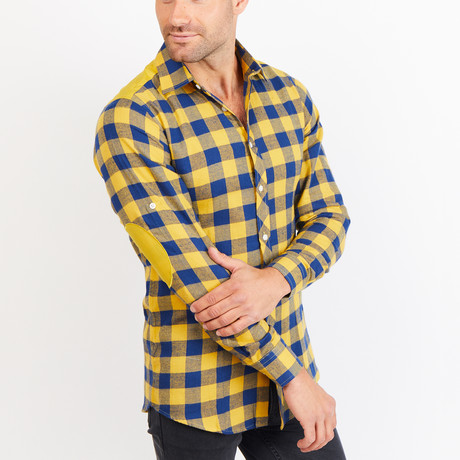 Button-Up Shirt // Plaid Check // Yellow + Blue