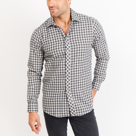 Button-Up Shirt // Patterned // Black + Gray (S)