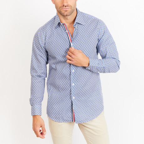 Button-Up Shirt // White + Navy (S)