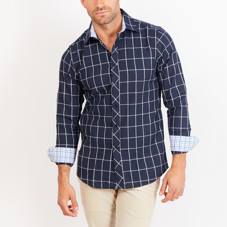 Button-Up Shirt // Navy + White Stripe