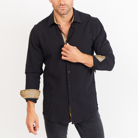 Button-Up Shirt // Black Knit Fabric (S)