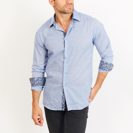 Button-Up Shirt // Blue + White Spot (S)