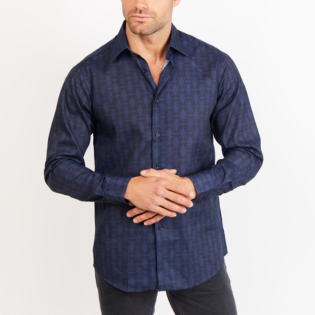 Button-Up Shirt // Patterned // Navy + Black (S)