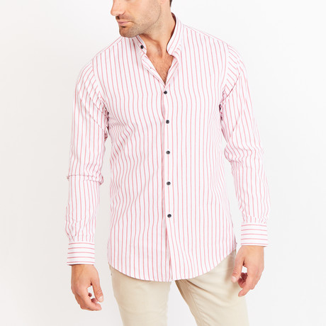 Button-Up Shirt // Red + White Stripe (S)