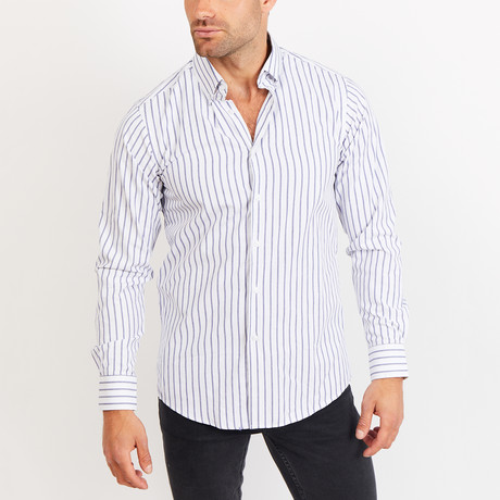 Button-Up Shirt // Blue + White Stripe (S)