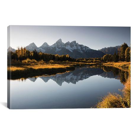 Reflection Of Mountain On Water, Teton Range, Grand Teton National Park // Wyoming, USA