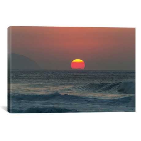 Waves In The Ocean At Sunset