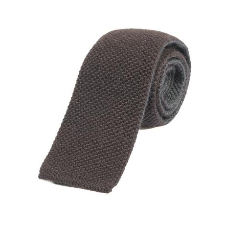 Brunello Cucinelli Fine Textured Knit Straight Tie // Brown
