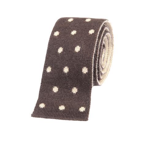 Brunello Cucinelli Knitted Straight Dot Tie // Brown + Cream