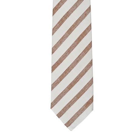 E Formicola Striped Tie // Brown