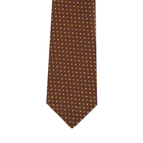 Isaia Dotted Tie // Brown + Orange