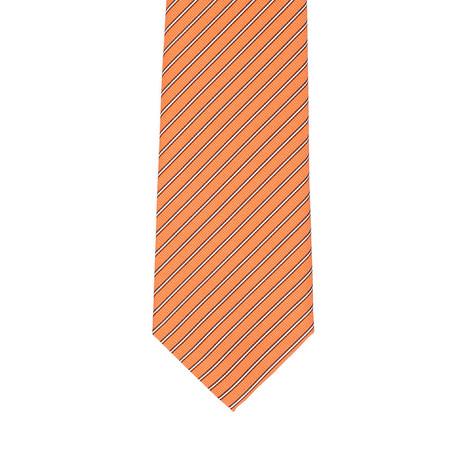 Isaia Thin Striped Tie // Orange