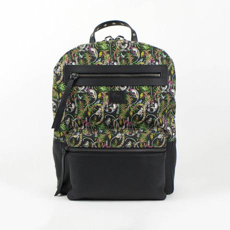 Aliosha Printed Canvas + Leather Loubi Jungle Backpack