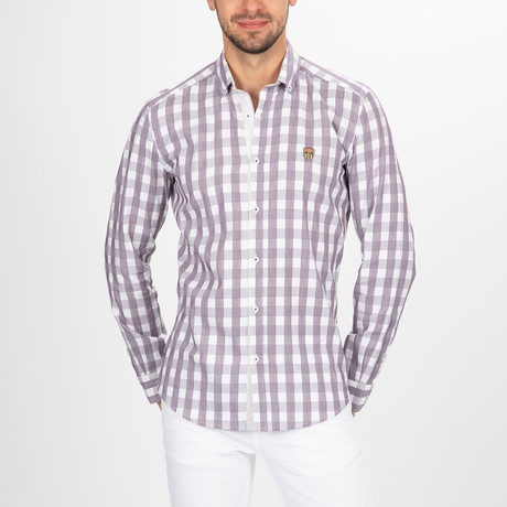 Foster Button Down Shirt // White + Purple (S)