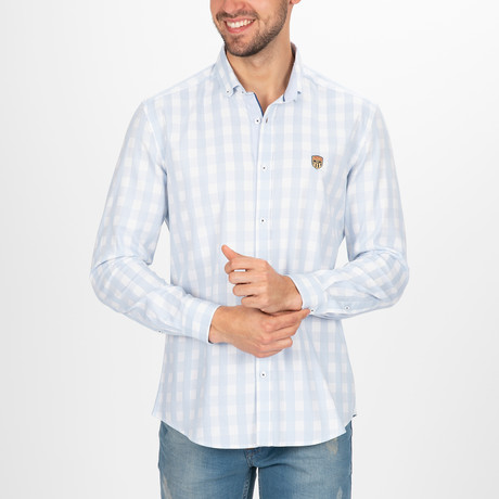 Maksymilian Button Down Shirt // White + Blue (S)